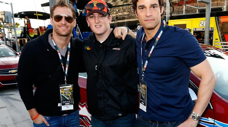 'The Bachelor' Juan Pablo Galavis (left), NASCAR driver Ty Dillon (center) and television personality Rob Marciano (right) pose during pace car rides prior to the NASCAR Sprint Cup Series Daytona 500 at Daytona International Speedway on February 23, 2014 in Daytona Beach, Florida. (Credit: Jonathan Ferrey/NASCAR via Getty Images)