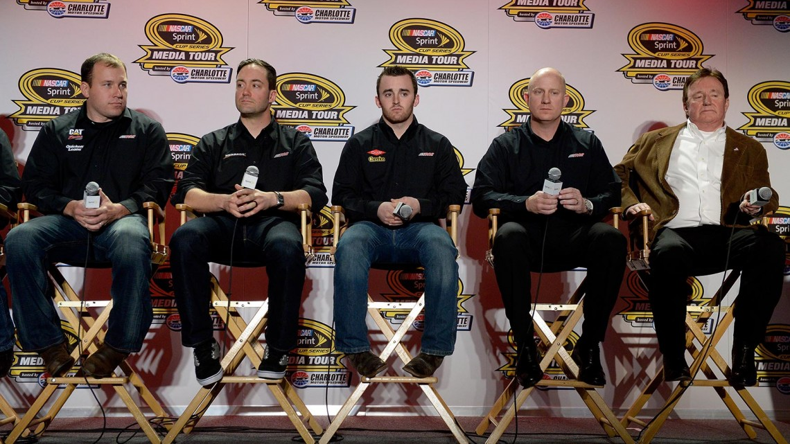 (L-R) Ryan Newman, driver of the #31 Caterpillar/Quicken Loans Chevrolet; Paul Menard, driver of the #27 Menard's Chevrolet; Austin Dillon, driver of the #3 DOW/Cheerios Chevrolet; Eric Warren, director of competition for Richard Childress Racing; and Richard Childress, owner of Richard Childress Racing speak with the media during the NASCAR Sprint Media Tour at Charlotte Convention Center on January 28, 2014 in Charlotte, N.C. (Credit: Grant Halverson/Getty Images)