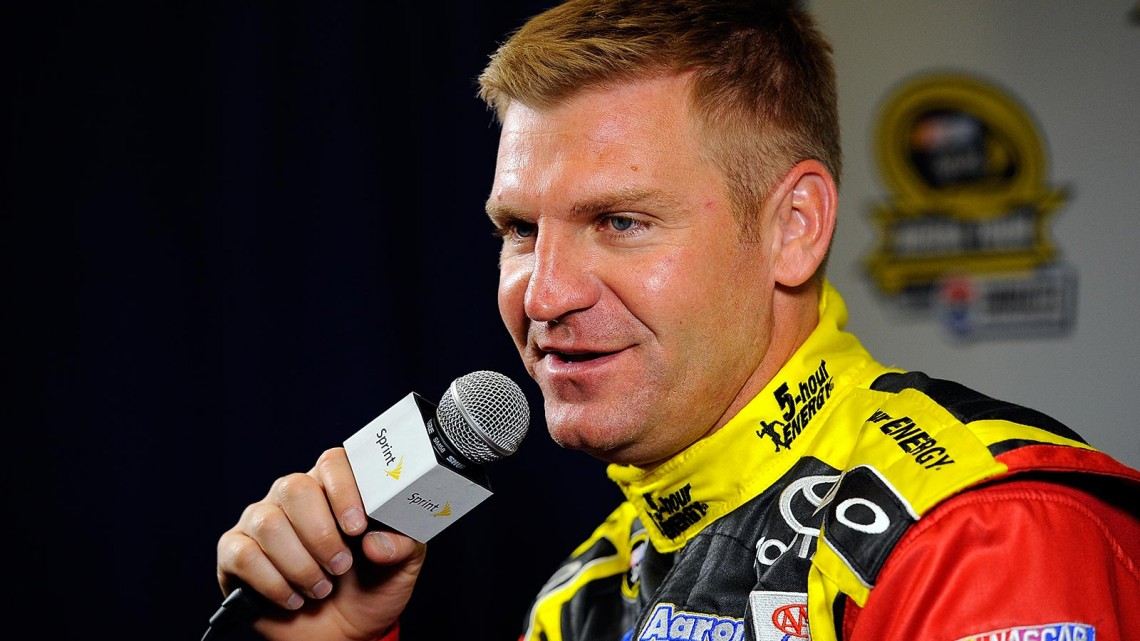 Clint Bowyer, driver of the #15 5Hour Energy Toyota, speaks with the media during NASCAR Sprint Media Tour at Charlotte Convention Center on January 30, 2014 in Charlotte, North Carolina. (Credit: Jared C. Tilton/Getty Images)