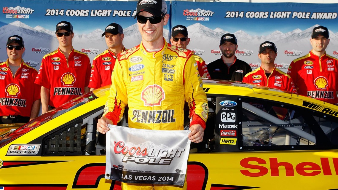 Joey Logano, driver of the #22 Shell-Pennzoil Ford, will start on the pole after turning the fastest lap during qualifying for the NASCAR Sprint Cup Series Kobalt 400 at Las Vegas Motor Speedway on March 7, 2014 in Las Vegas, Nevada. (Credit: 295937Brian Lawdermilk/Getty Images)