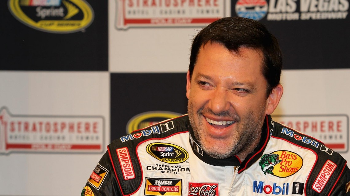 Tony Stewart, driver of the #14 Mobil 1/Bass Pro Shops Chevrolet, speaks to the media before a test session at Las Vegas Motor Speedway on March 6, 2014 in Las Vegas, Nevada. (Credit: 295902Todd Warshaw/NASCAR via Getty Images)