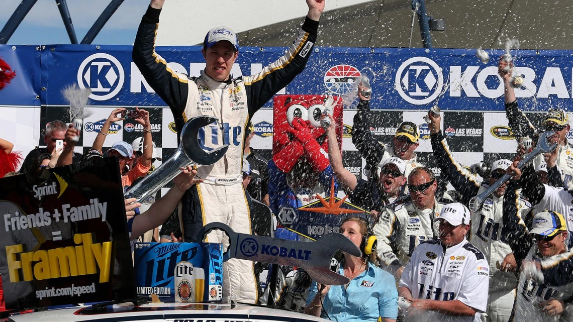 Brad Keselowski, driver of the #2 Miller Lite Ford, celebrates in Victory Lane after winning the NASCAR Sprint Cup Series Kobalt 400 at Las Vegas Motor Speedway on March 9, 2014 in Las Vegas, Nevada. (Credit: 295979NASCAR Via Getty Images)