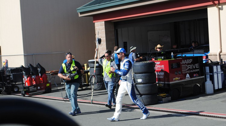 Jimmie Johnson walks to his hauler at Sonoma Raceway on Friday, June 20, 2014. (photo credit: Heather Baker/The Fast and the Fabulous)