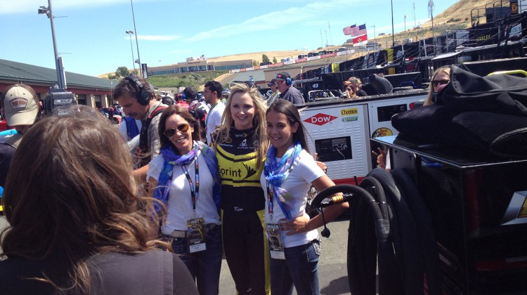 Melissa River (left) poses with Miss Sprint Cup Kim Coon and Karsyn Elledge at Sonoma Raceway on Friday, June 20, 2014. (photo credit: The Fast and the Fabulous)