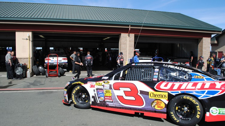 The No. 3 of Austin Dillon rolls out for practice at Sonoma Raceway on Friday, June 20, 2014. (photo credit: Heather Baker/The Fast and the Fabulous)
