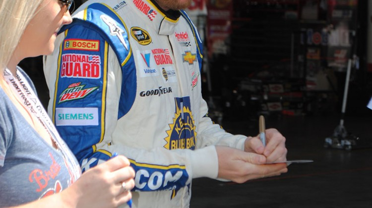 Dale Earnhardt Jr. walks out to qualifying at Sonoma Raceway on Saturday, June 21, 2014. (photo credit: Heather Baker/The Fast and the Fabulous)