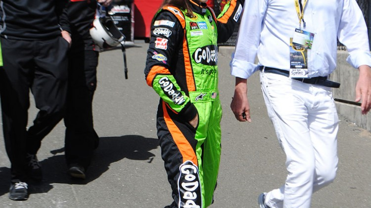 Danica Patrick walks out to qualifying at Sonoma Raceway on Saturday, June 21, 2014. (photo credit: Heather Baker/The Fast and the Fabulous)