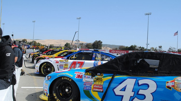 Cars lined up on pit road for qualifying at Sonoma Raceway on Saturday, June 21, 2014. (photo credit: Heather Baker/The Fast and the Fabulous)