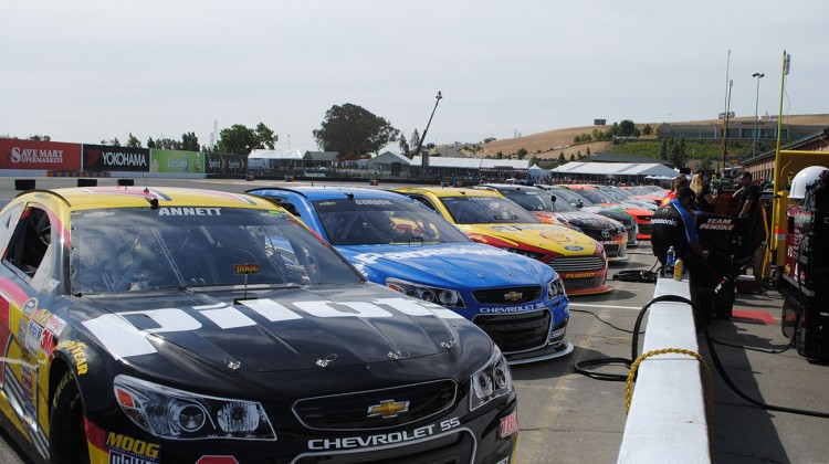 Cars lined up for qualifying at Sonoma Raceway on Saturday, June 21, 2014. (photo credit: Heather Baker/The Fast and the Fabulous)