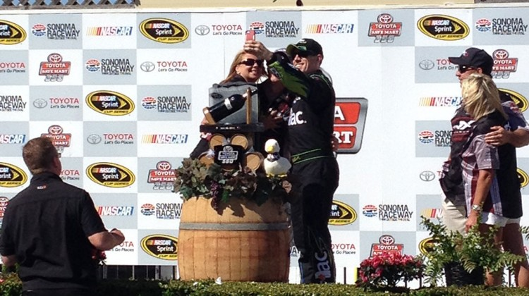 Carl Edwards takes a selfie in victory lane at Sonoma Raceway on June 22, 2014. (photo credit: The Fast and the Fabulous)