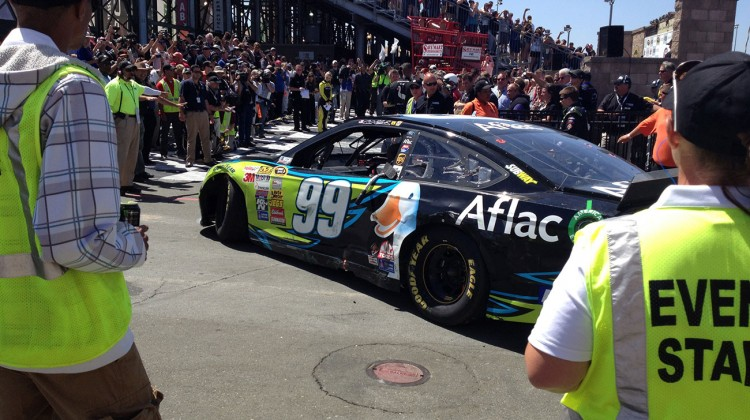 Carl Edwards drives into victory lane at Sonoma Raceway on June 22, 2014. (photo credit: The Fast and the Fabulous)