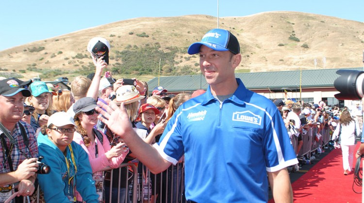 Chad Knaus waves to fans as he walks into the drivers meeting at Sonoma Raceway on June 22, 2014. (photo credit: Heather Baker/The Fast and the Fabulous)