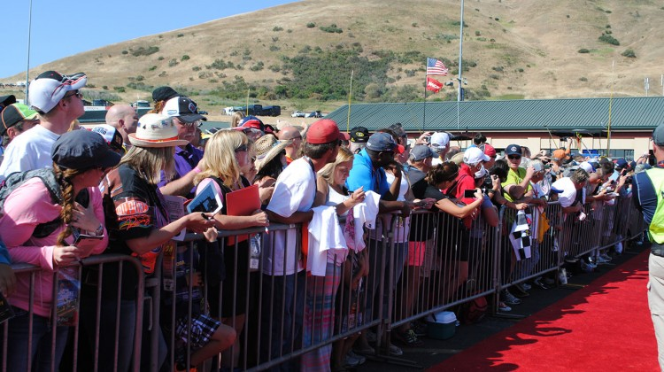 Fans await the arrival of drivers to the drivers meeting at Sonoma Raceway on June 22, 2014. (photo credit: Heather Baker/The Fast and the Fabulous)