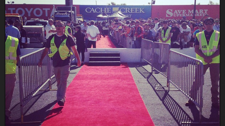 The red carpet to the drivers meeting at Sonoma Raceway on June 22, 2014. (photo credit: The Fast and the Fabulous)