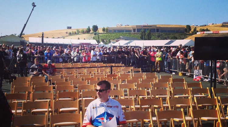 The empty drivers meeting space, except for Rodney Childers, Kevin Harvick's crew chief, at Sonoma Raceway on June 22, 2014. (photo credit: The Fast and the Fabulous)