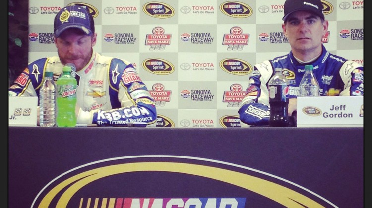 Jeff Gordon (hello!) and Dale Earnhardt Jr. speak with the media at their post-race press conference at Sonoma Raceway on June 22, 2014. (photo credit: The Fast and the Fabulous)