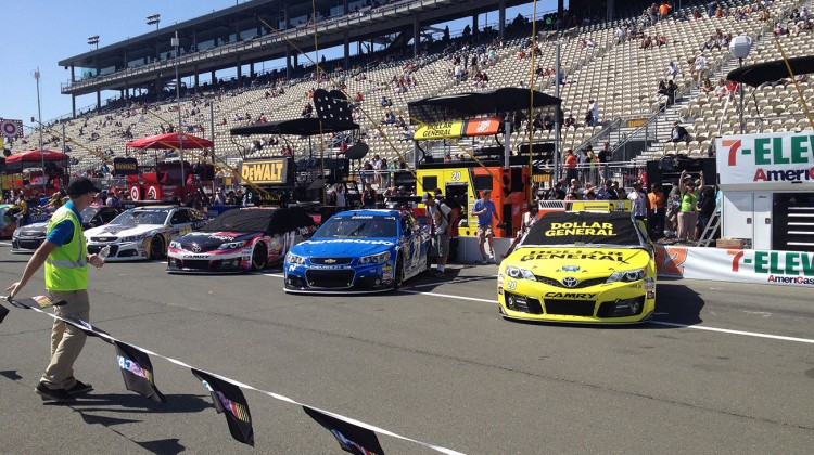 Cars all lined up on pit road at Sonoma Raceway on June 22, 2014. (photo credit: The Fast and the Fabulous)