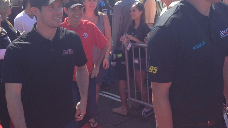 Ryan Truex and Kyle Larson share a laugh while leaving the drivers meeting at Sonoma Raceway on June 22, 2014. (photo credit: The Fast and the Fabulous)