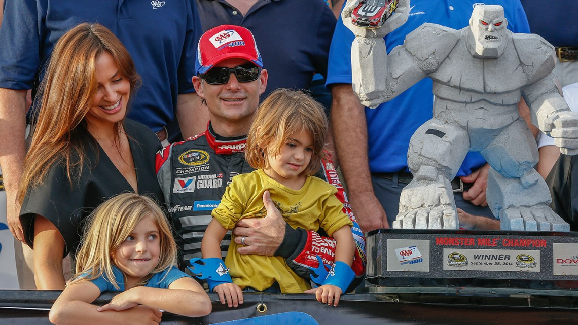 Jeff Gordon, driver of the #24 Drive To End Hunger Chevrolet SS celebrates his victory with his wife, Ingrid, and his children, Ella Sofia and Leo Benjamin Sunday, September 28, 2014 in the Chase Challenger 16 NASCAR Sprint Cup race at Dover International Speedway in Dover, Delaware. Gordon advances to the Contender 12 phase of the Chase which begins next Sunday at Kansas Speedway. (Photo by Gregg Ellman/HHP for Chevy Racing)
