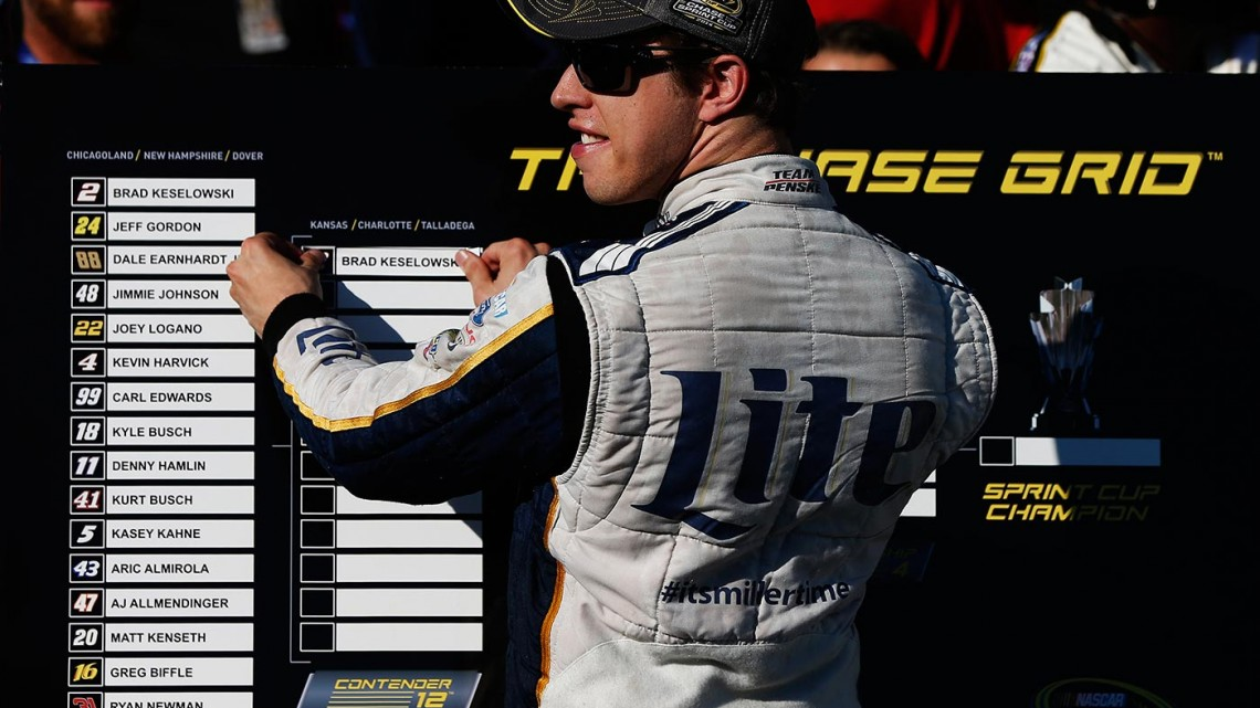 Brad Keselowski, driver of the #2 Miller Lite Ford, places his name in the top twelve on The Chase Grid after winning the NASCAR Sprint Cup Series MyAFibStory.com 400 at Chicagoland Speedway on September 14, 2014 in Joliet, Illinois. (Credit: Sean Gardner/Getty Images)