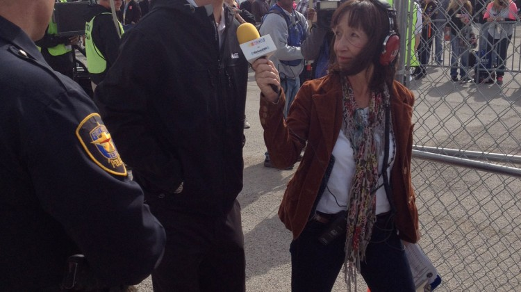 Joey Logano with Claire B. Lang on his way into the drivers meeting at Texas Motor Speedway. (photo credit: The Fast and the Fabulous)