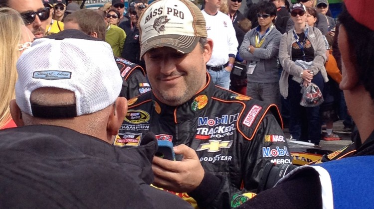 Tony Stewart records a voicemail message for a fan  at Texas Motor Speedway. (photo credit: The Fast and the Fabulous)