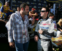 Actor Vince Vaughn talks with Jimmie Johnson prior to the Dickies 500 at Texas Motor Speedway. (Photo Credit: Robert Laberge/Getty Images for NASCAR)