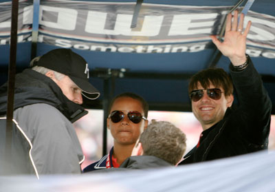 Actor Tom Cruise, with his son Connor, enjoys the Auto Club 500 on Monday, February 25th, 2008 from the pit box of defending NASCAR Sprint Cup Series champion Jimmie Johnson (Photo Credit: Jerry Markland/Getty Images for NASCAR)