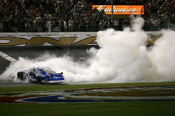 Ryan Newman does a burnout to celebrate his Daytona 500 victory (Photo Credit: Marc Serota/Getty Images for NASCAR)