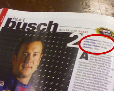 Kurt Busch's profile page in The Official NASCAR 2008 Preview and Press Guide