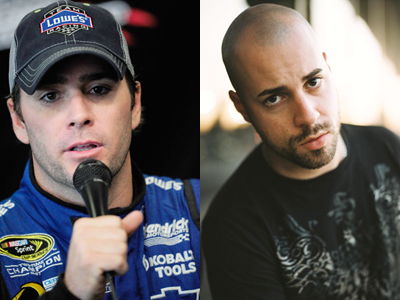 On the left Jimmie Johnson (photo credit:Rusty Jarrett/Getty Images for NASCAR) and on the right Chris Daughtry of the band Daughtry