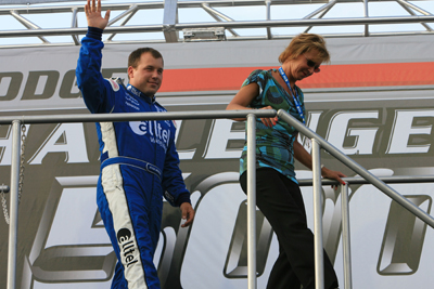 Ryan Newman and his mother Diane take part in driver introductions before the Dodge Challenger 500 at Darlington Raceway (Photo Credit: Jerry Markland/Getty Images for NASCAR)