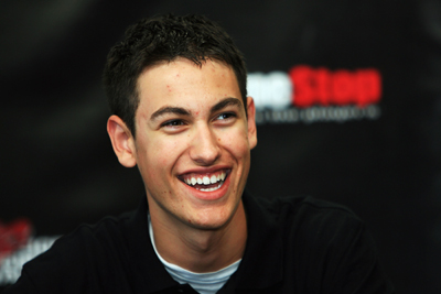 Joey Logano addresses the media during a news conference to celebrate his 18th birthday. Logano will make his NASCAR Nationwide Series debut next week at Dover International Speedway. (Photo Credit: Jerry Markland/Getty Images for NASCAR)