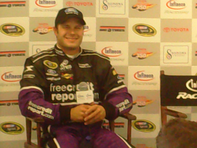 David Gilliland speaks with the press after the Toyota/Save Mart 350 at Infineon Raceway