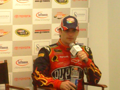 Jeff Gordon speaks with the press after the Toyota/Save Mart 350 at Infineon Raceway