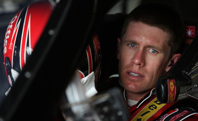 Defending race winner Carl Edwards gets ready to practice for the LifeLock 400 at Michigan International Speedway. (Photo Credit: Jonathan Daniel/Getty Images)