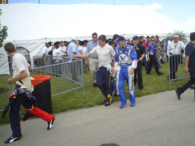 David Ragan (far left), Carl Edwards and Matt Kenseth leave the drivers meeting before the Dollar General 300 on Friday, July 11, 2008 (photo credit: The Fast and the Fabulous)