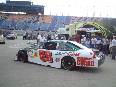 Sprint Cup cars roll out to the track for a practice session at Chicagoland Speedway on Friday, July 11, 2008 (photo credit: The Fast and the Fabulous)