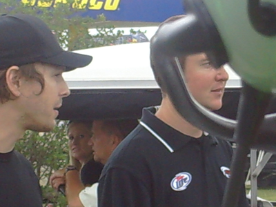 Singer Gavin DeGraw (left) walks to the drivers meeting with Kurt Busch at Chicagoland Speedway on Saturday July 12, 2008. (photo credit: The Fast and the Fabulous)