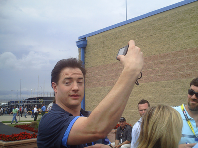 Actor Brendan Fraser at Chicagoland Speedway on Saturday, July 12, 2008 (photo credit: The Fast and the Fabulous)
