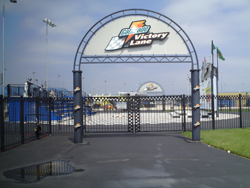 An empty Gatorade Victoy Lane at the Chicagoland Speedway on Friday, July 11, 2008
