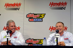 Team owner Rick Hendrick and Mark Martin during a press conference at Daytona (Fla.) International Speedway. It was announced Friday that Martin will drive the No. 5 Chevrolets in 2009. (Courtesy Hendrick Motorsports)
