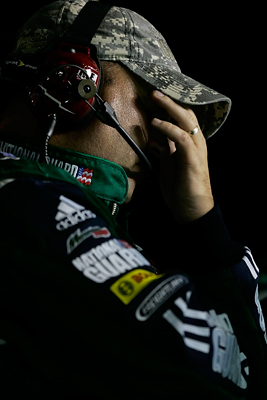 Tony Eury Jr., crew chief for Dale Earnhardt Jr., #88 National Guard/AMP Energy Chevrolet reacts to race action during the NASCAR Sprint Cup Series Coke Zero 400 at Daytona International Speedway on July 5, 2008 in Daytona Beach, Florida. (Photo by Jason Smith/Getty Images for NASCAR)