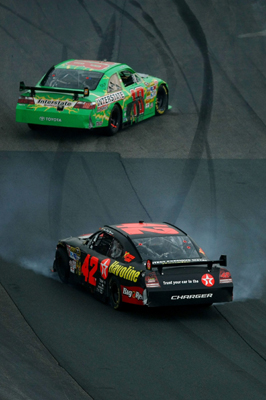During the seventh and final caution, Kyle Busch (top, No. 18) and Juan Pablo Montoya (bottom, No. 42) were involved in an incident that cost Montoya two laps for rough driving in the Lenox Industrial Tools 300 NASCAR Sprint Cup Series race at New Hampshire Motor Speedway (Photo Credit: Chris McGrath / Getty Images for NASCAR)