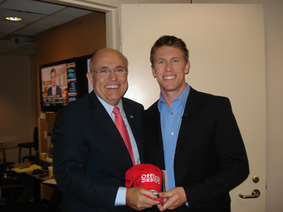 Carl Edwards and former New York City mayor Rudy Guiliani