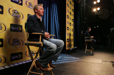 Clint Bowyer participates in a Satellite Media Tour during Chase Media Day at Hard Rock Cafe in New York City. (Photo Credit: Mike Stobe/Getty Images for NASCAR)