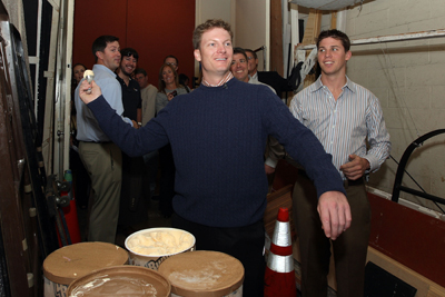 Dale Earnhardt Jr. practices throwing scoops of ice cream before attempting to break a Guiness World Record on Live With Regis And Kelly. (Photo Credit: Mike Stobe/Getty Images for NASCAR)