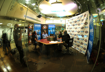 Carl Edwards, Tony Stewart, Matt Yocum and Kyle Busch at the taping of the Tony Stewart Live show in the Sirius XM studios in New York City (photo credit: Ronnie Peters of 4 Corners)
