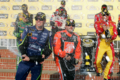 The 2008 Chase for the NASCAR Sprint Cup drivers celebrate their Chase berths after the CHevy Rock & Roll 400 at Richmond International Speedway. (Photo Credit: Todd Warshaw/Getty Images for NASCAR)