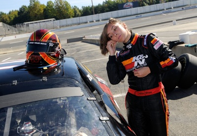 Caitlin Shaw of Albuquerque, N.M. gets ready to get in her car during the Drive for Diversity Combine presented by Sunoco at South Boston Speedway. (Photo Credit: Grant Halverson/Getty Images for NASCAR)